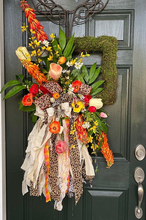 Spring wreath, Spring decor, Summer wreath, Colorful wreath, Tulip wreath
