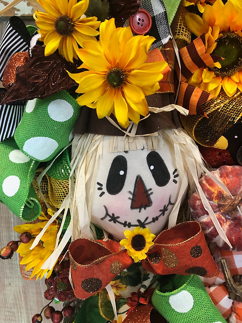 Fall scarecrow wreath, halloween wreath, scarecrow in sunflowers