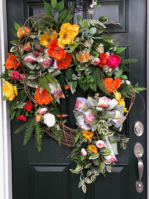 Spring Flowers in Grapevine Wreath