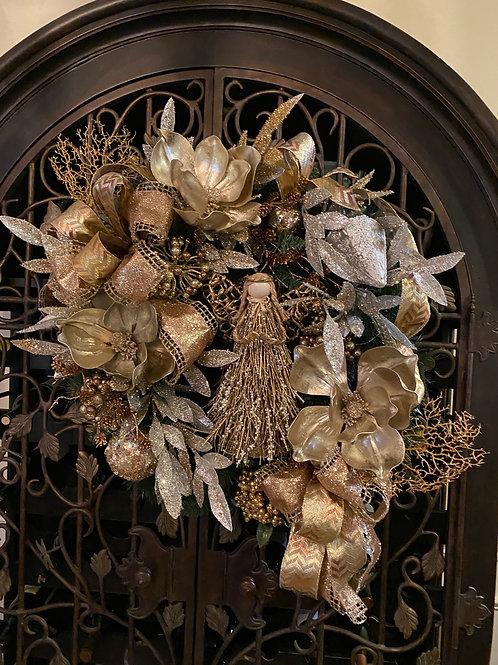 Angel Christmas wreath, Gold and Silver wreath, Christmas decor