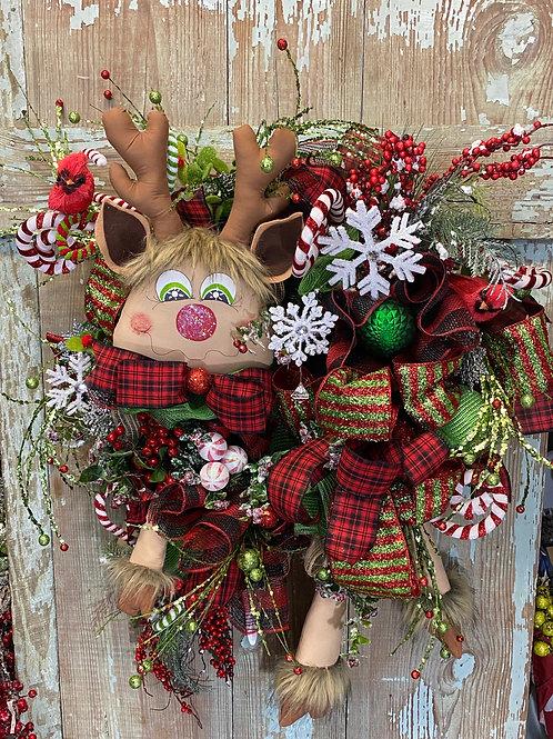 Whimsical Christmas wreath, Whimsical Deer Wreath, Christmas Wreath