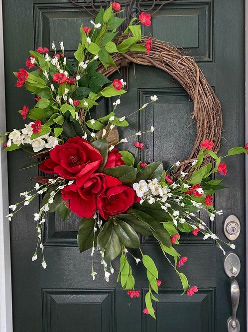 Red Magnolias, Charleston Magnolia, Magnolia Wreath