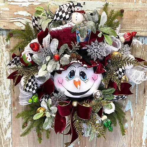 Snowman wreath, Holiday wreath, Christmas wreath