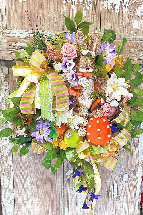 Easter bunny, Easter wreath, Spring wreath, Jeweled eggs and rabbit