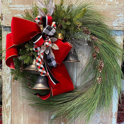 Silver bell Wreath, Christmas Wreath, Pine wreath with bells