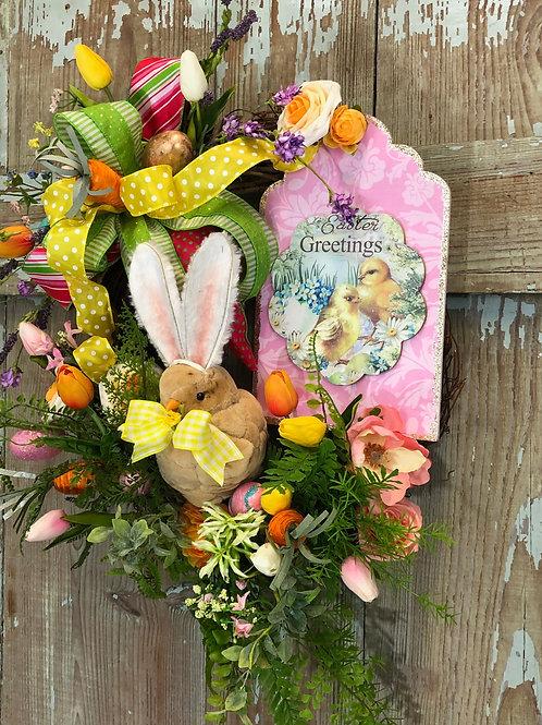 Easter chicken wreath