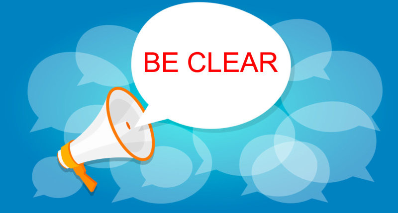 "image of megaphone with the words ""be clear"""