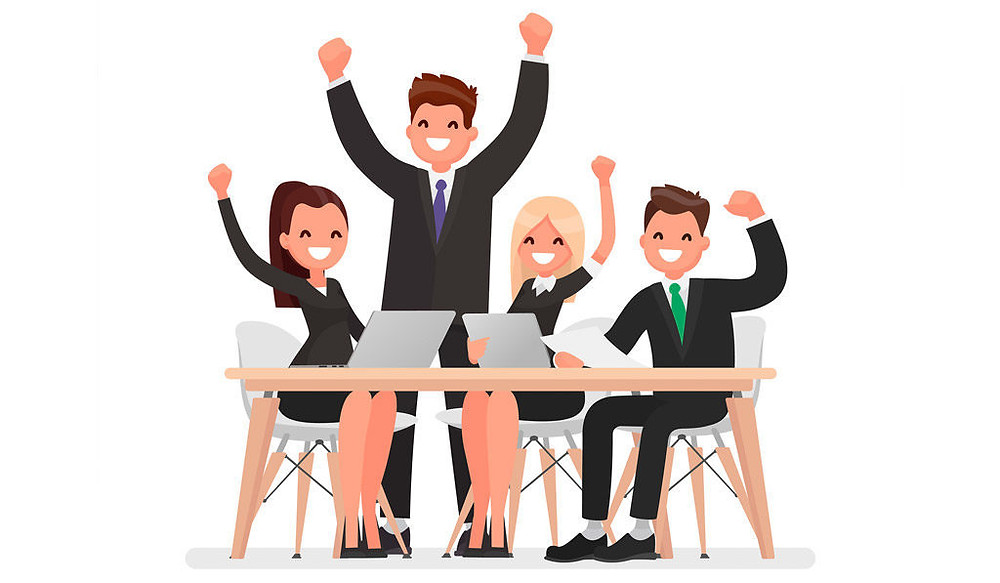 happy employees at desk with hands up and excited