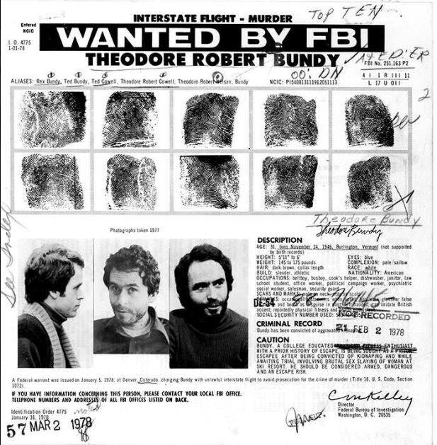 FBI Most wanted poster of Ted Bundy