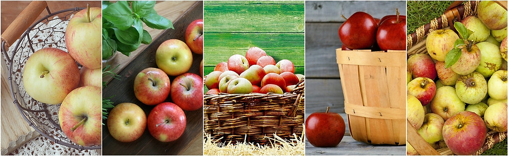A 4-picture montage of apples in bowls, on trays, and in tubs and baskets.