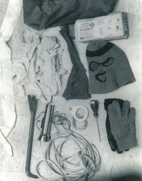 Various items found in Ted Bundy's car on arrest.