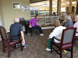 Veronica leading a chair exercise class