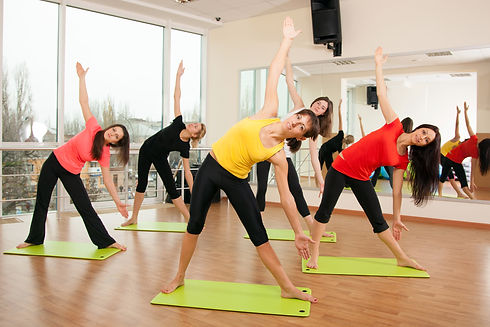 Group training in a gym of a fitness cen