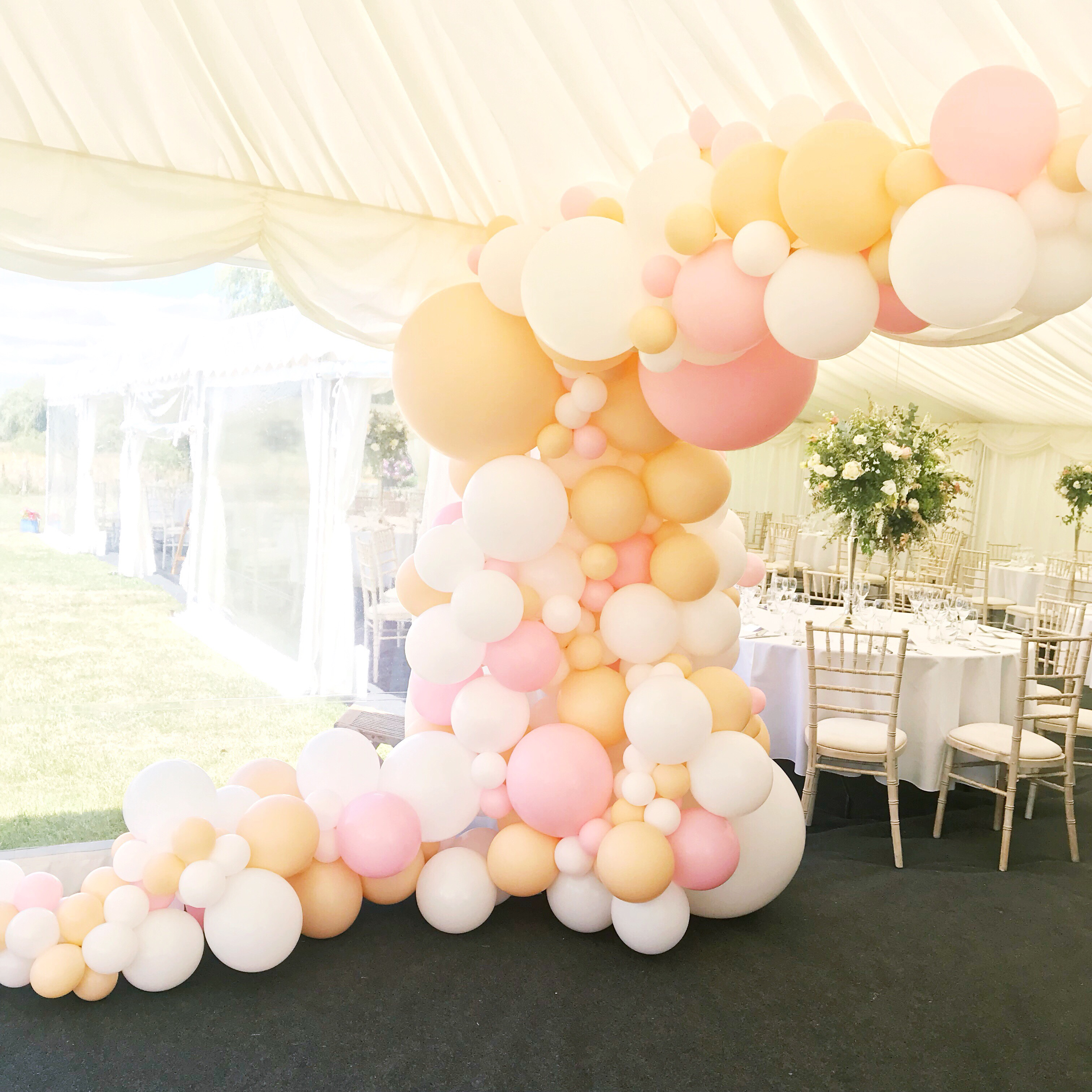 Frame the entrance or decorate the ceiling of your marquee