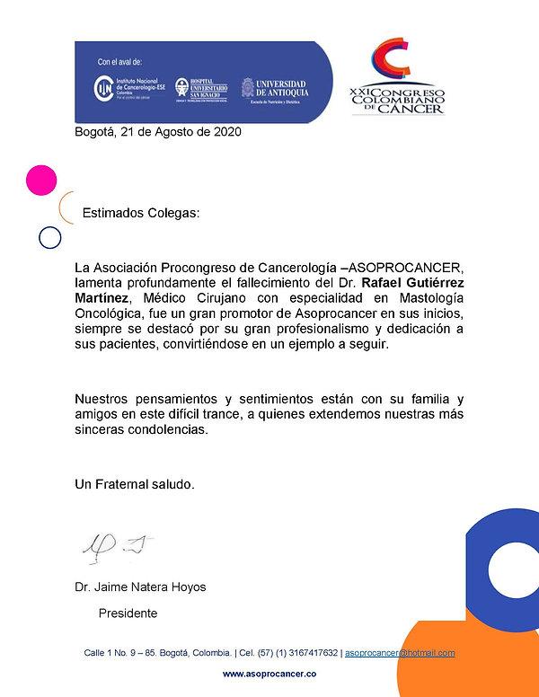 Asoprocancer - Condolencias - Dr. Rafael
