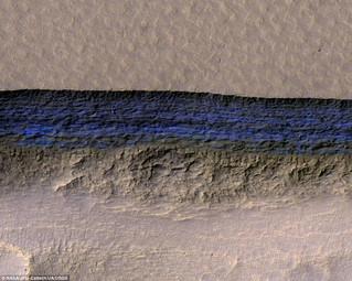 منحدرات من مياه زرقاء صافية متجمدة تم رصدها مباشرة تحت سطح المريخ