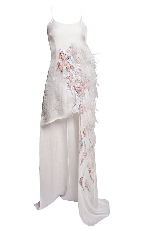 "White ""Fish""gown dress"