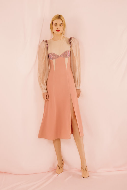 Nude pink dress with buff sleeves