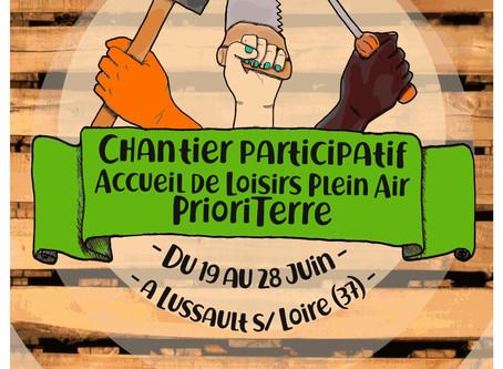 CHANTIER PARTICIPATIF ACCUEIL DE LOISIRS PRIORITERRE DU MERCREDI 19 AU VENDREDI 28 JUIN 2019.