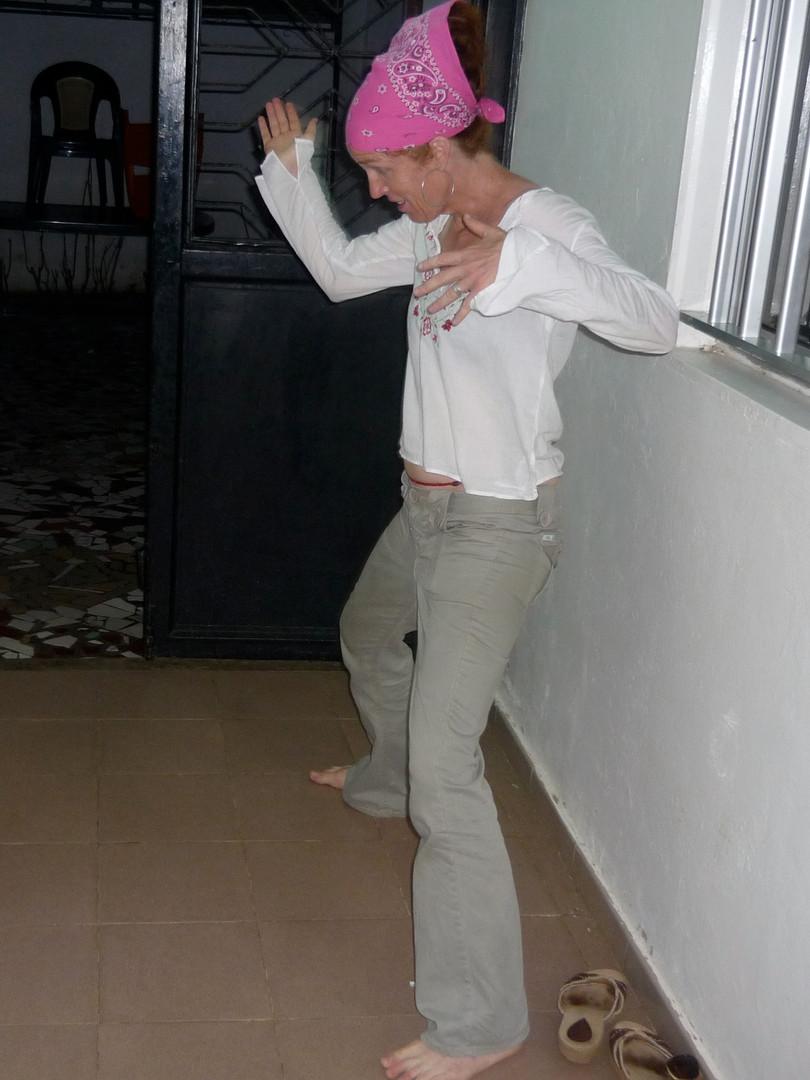 Corridor dancing with a friend in Dakar
