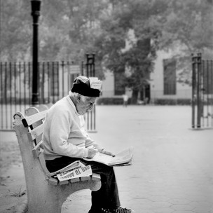 Columbus Park Morning Paper, NYC 1970's