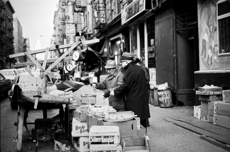 Fruit and Vegetable Carts, Mott St. NYC