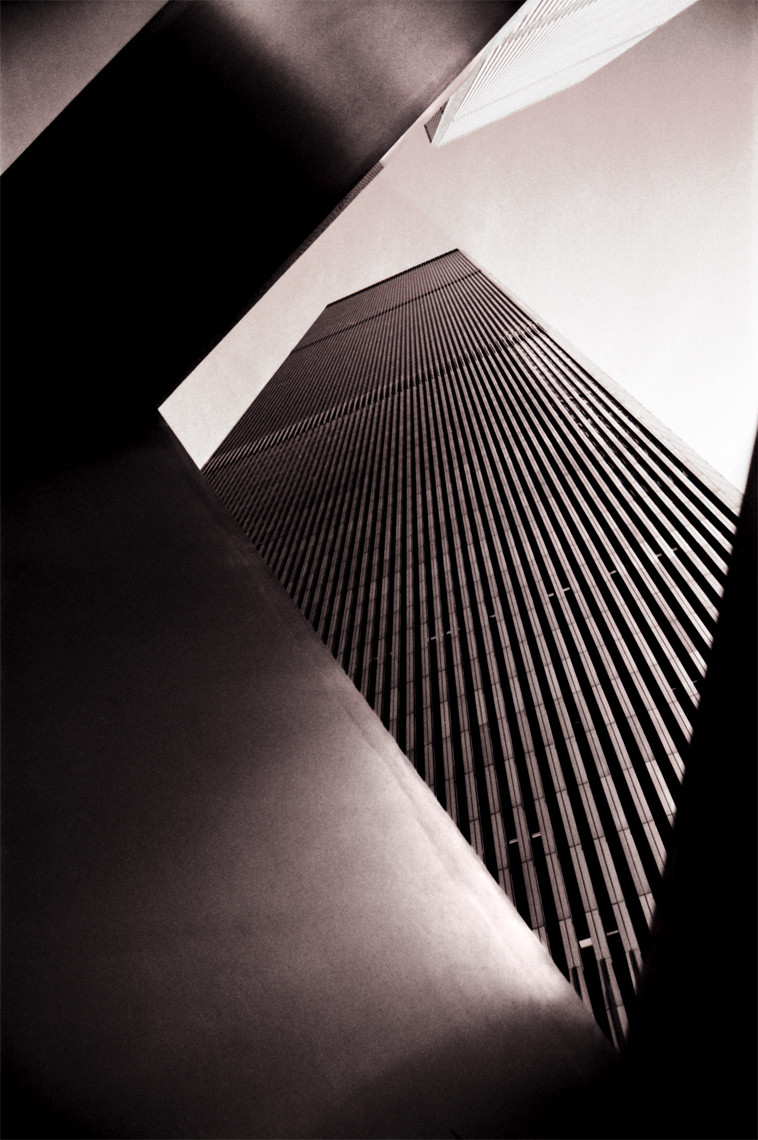 Trade Towers through Plaza Sculpture 1975