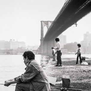 Fishing from Brooklyn Bridge Pier, 1970's