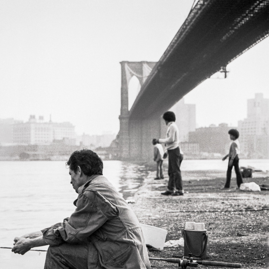 Fishing from Brooklyn Bridge Pier, 1970's