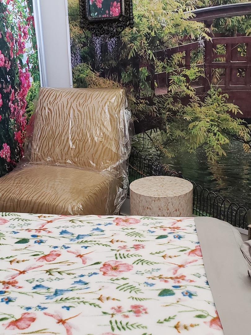 massage room with bridge backdrop