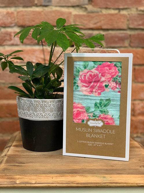 Rose Muslin Swaddle Blanket