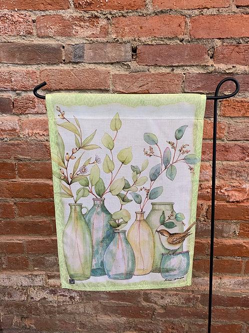 """Bird & Vases"" Garden Flag"