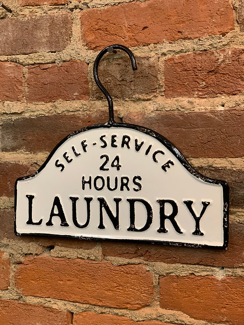 Black & White Laundry Sign with Hanger