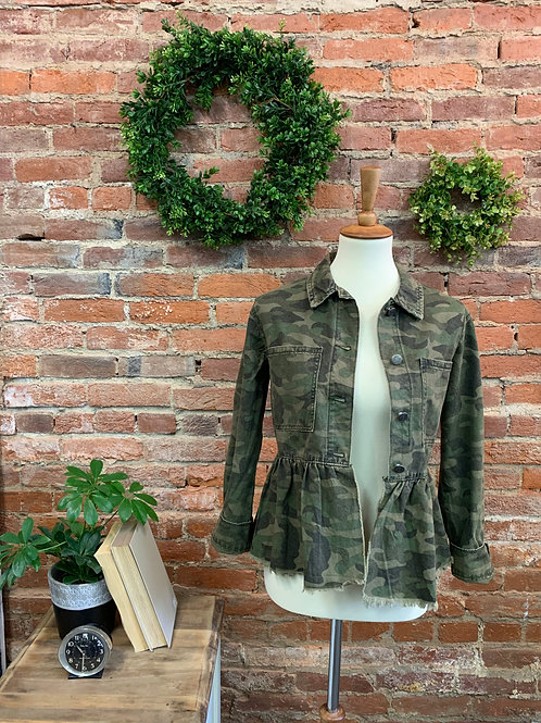 Camouflage Denim Ruffled Jacket