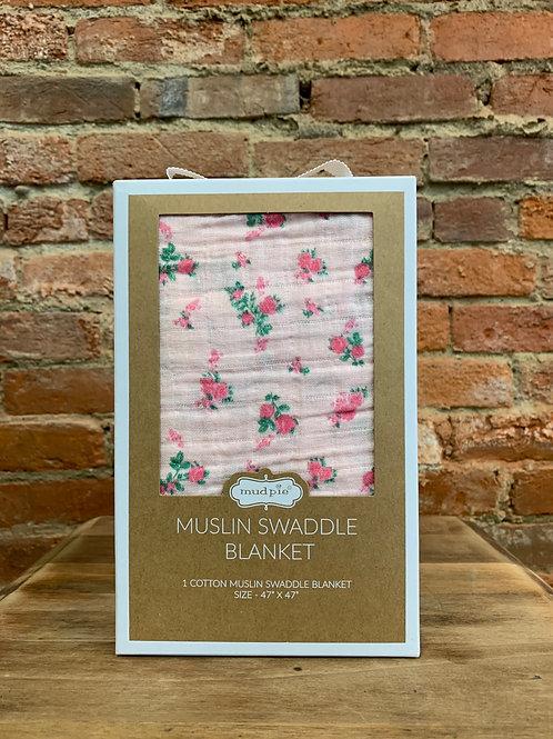 Pink Rosette Swaddle Blanket