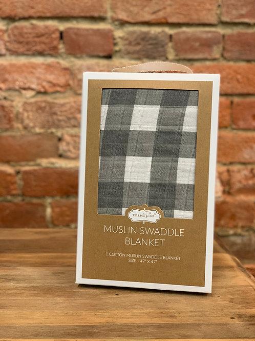 Gray Gingham Swaddle Blanket