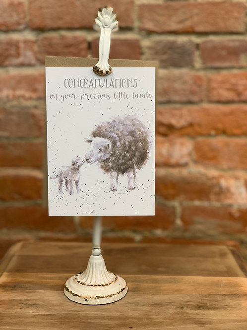 """Little Lamb"" New Baby Card"