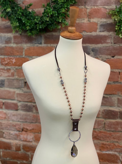 Bronze & Leather Crystal Drop Necklace