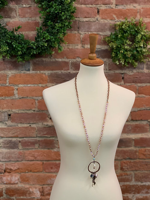 Pink & Copper Necklace with Key Charms