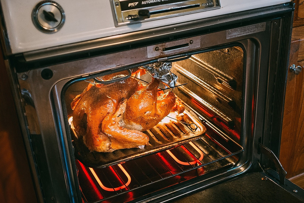A cooked turkey sits in a pan on an oven rack