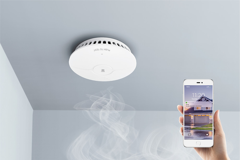 Smoke rising and being detected with Savvi app
