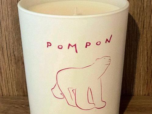 Bougie crème de cassis ours Pompon blanc