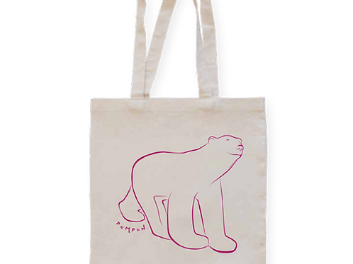 Tote bag ours blanc Pompon