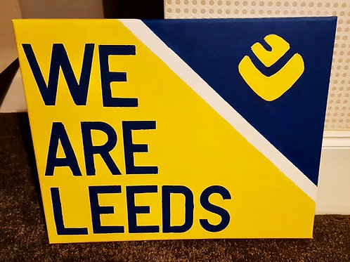 WE ARE LEEDS hand painted canvas 50cm x 40cm