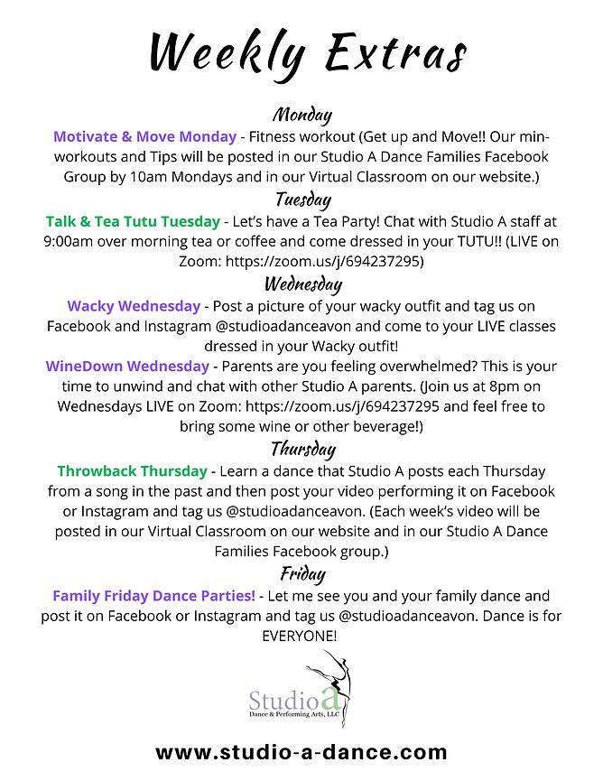 Virtual Classroom Weekly Extras Flyer (1