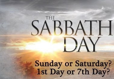 "Picture of sunrise with the text, ""The Sabbath Day: Sunday or Saturday? 1st Day or 7th Day?"""