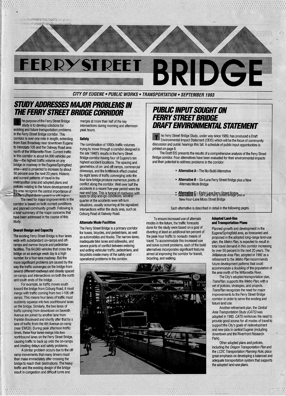 Front page of newspaper circular, notifying Eugene citizens of traffic study.