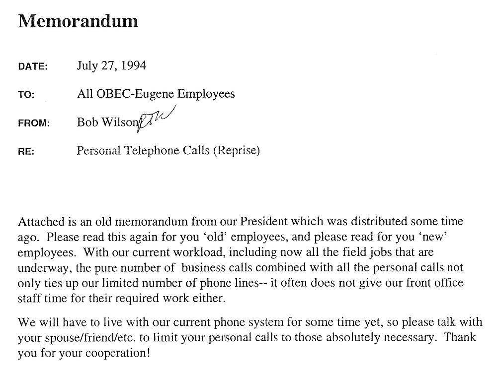 Scanned image of Interoffice Memorandum