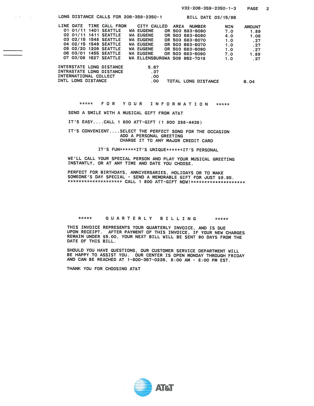Scanned image of AT&T phone bill