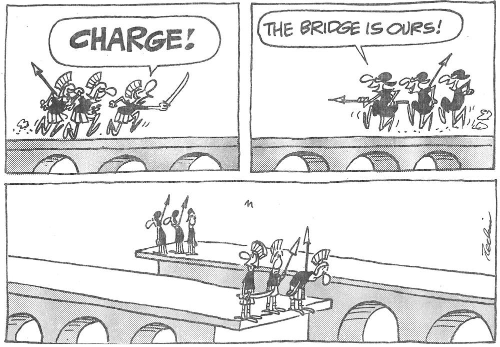 Comic strip depicting a poorly-designed bridge.